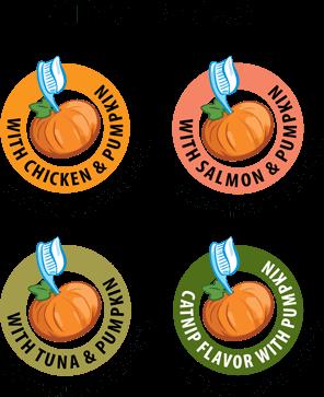 Treat Recipes with chicken & pumpkin, salmon & pumpkin, tuna & pumpkin and catnip flavor with pumpkin - pumpkin provides fiber