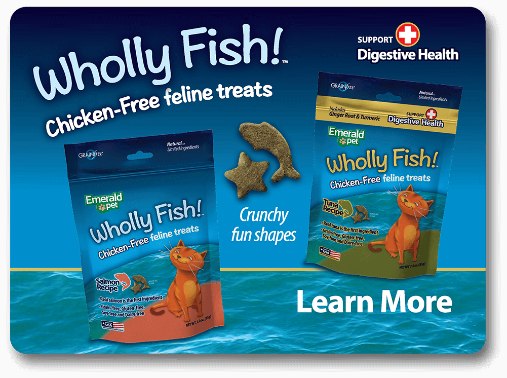 Wholly Fish Chicken-Free feline treats - Learn More