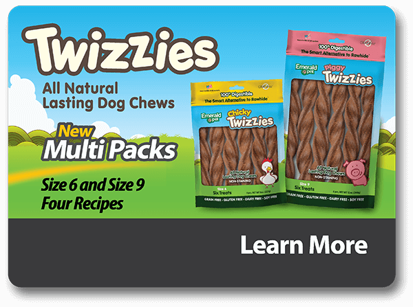 Twizzies All Natural Lasting Dog Chews New MultiPacks Size 6 and Size 9, Four Recipes - Learn More